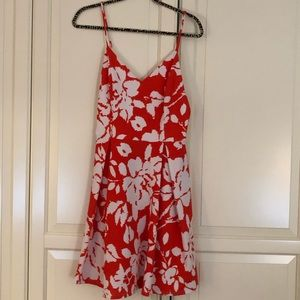 NWT. Orange and White muted floral dress
